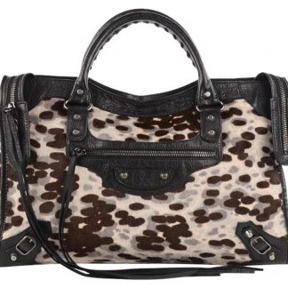 ede1a453981b AAA Balenciaga AAA Replica The City Leopard City Anthracite Handbag Cream  Brown Black Pony Hair   Leather Shoulder Bag fake balenciaga replica triple  s for ...