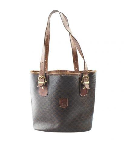 6c994d80dad8 Best Céline 1 1 Mirror Replica Macadam (157676) Brown Coated Canvas  Shoulder Bag celine replica handbag