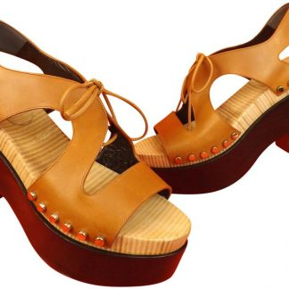cc4ed799ee8f Designer Balenciaga Designer Replica Tan Leather Studded Cut Out Heel  Sandals 9 Platforms balenciaga replica