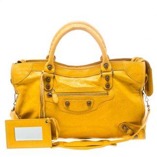 Flawless Balenciaga Knockoff Mangue Classic City Rsh Yellow Leather Tote balenciaga  replica sale shoes ebb66a363c4e9