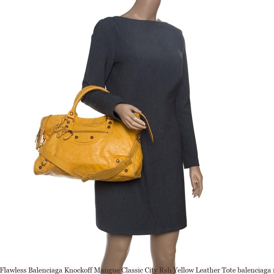 7493e52287bf Flawless Balenciaga Knockoff Mangue Classic City Rsh Yellow Leather Tote  balenciaga replica sale shoes